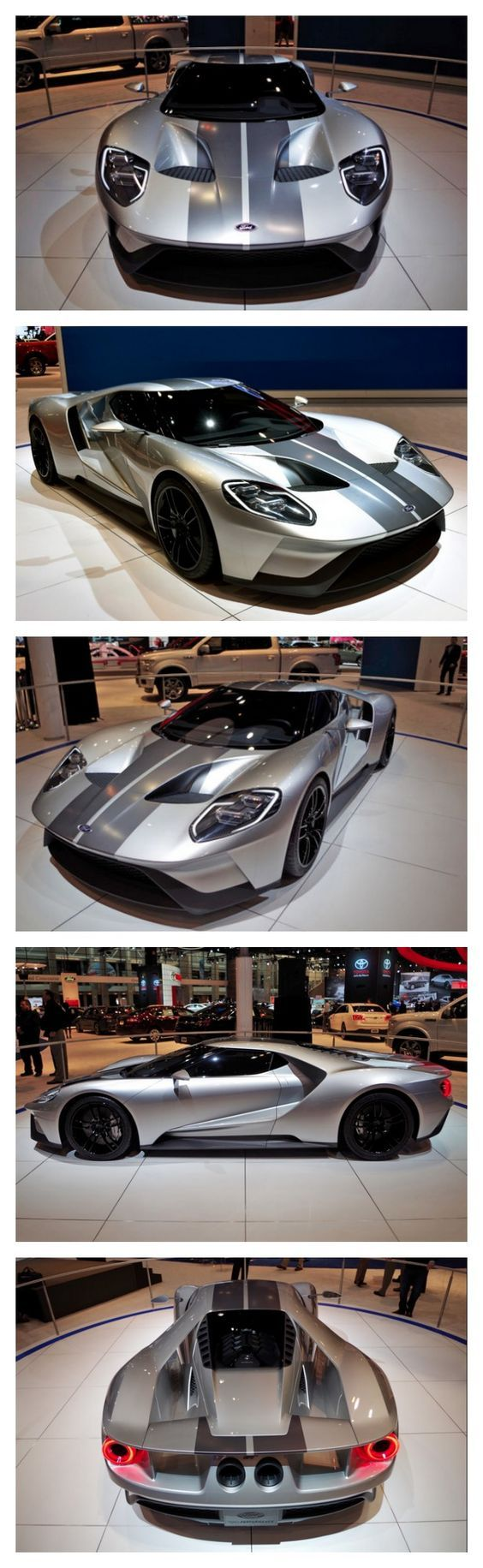 The Ford Gt Just Rocked Up In Chicago With A New Silver Paint Job With Images Ford Gt Super Cars Car Ford