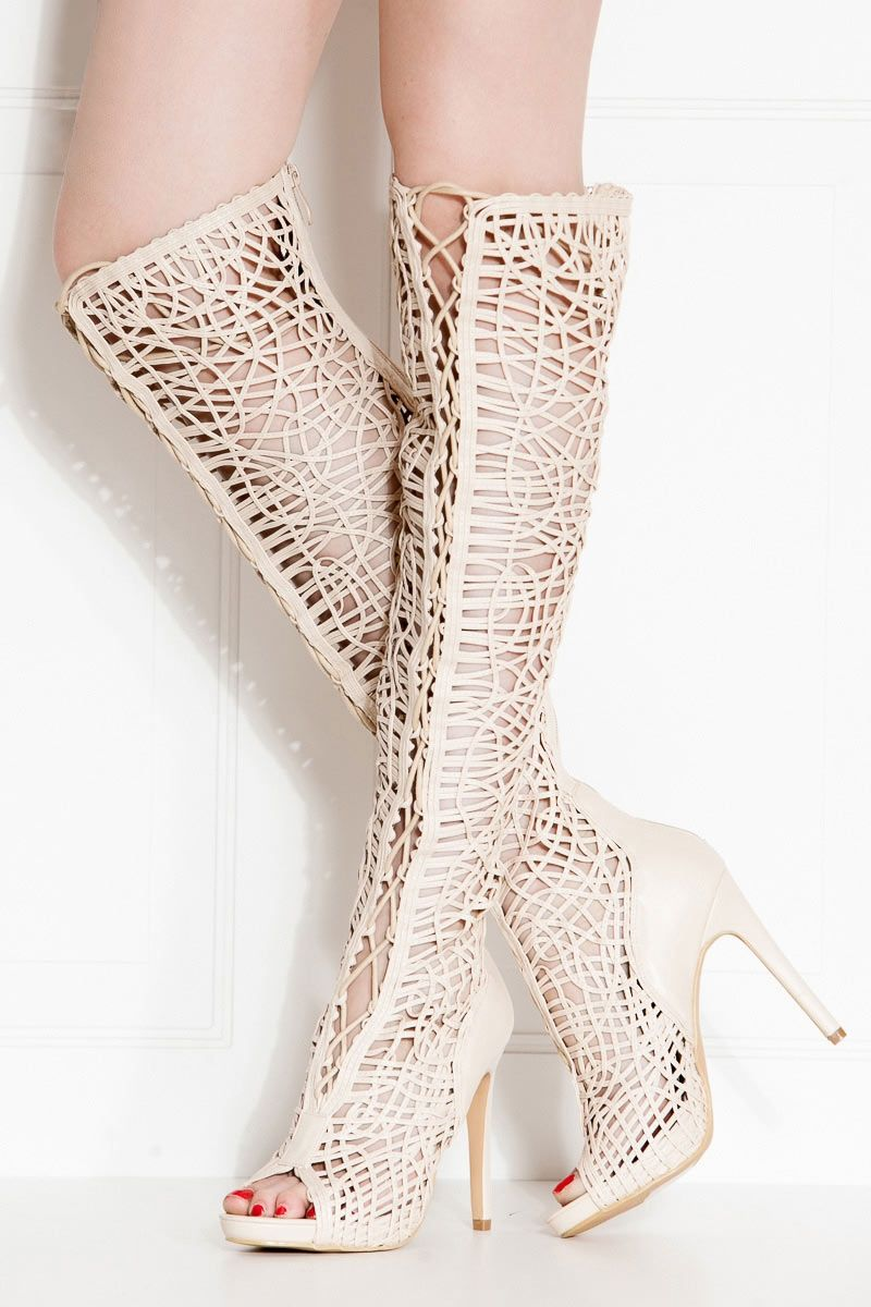 e37122227493 Nude Faux Leather Lace Up Open Toe Thigh High Boots   Cicihot Heel Shoes  online store sales Stiletto Heel Shoes