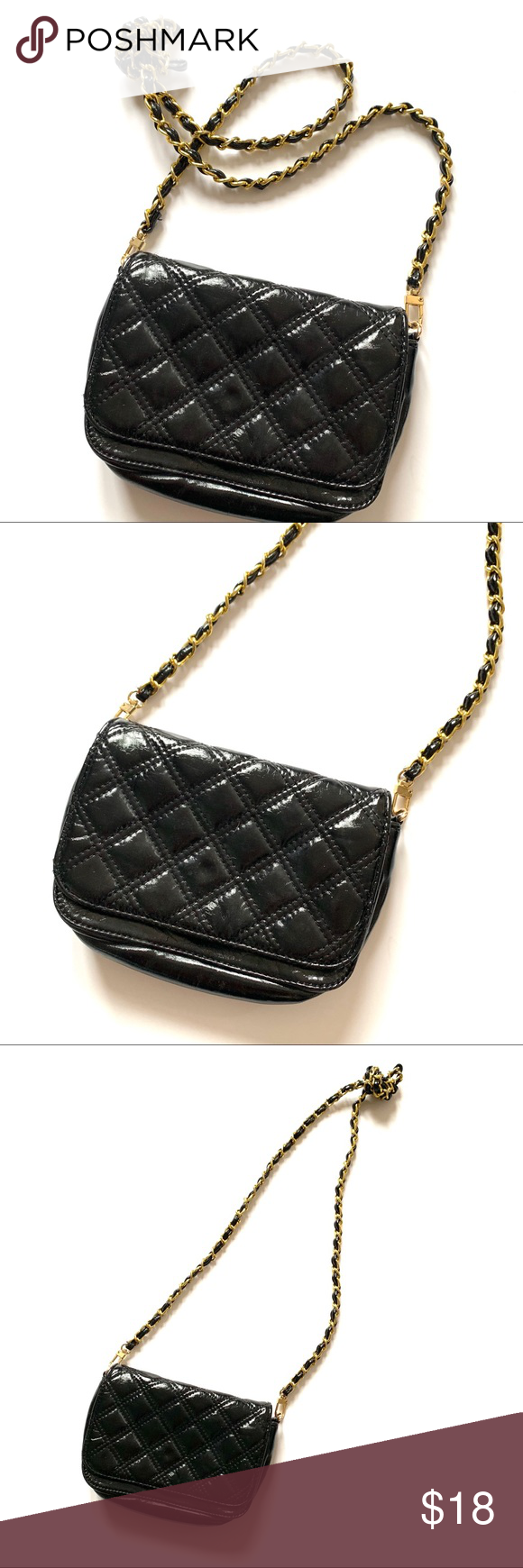 de8251e2bf Quilted Black Gold Chain Big Buddha Small Purse Gold chain knotted crossbody  small purse. Quilted black purse. No lock / clasp on closure.