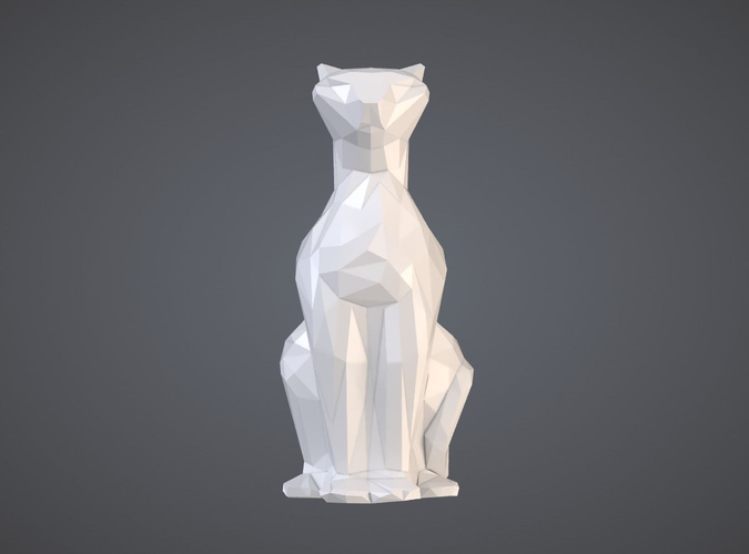Faceted Sitting Cat Figurine 3D Print Model Print