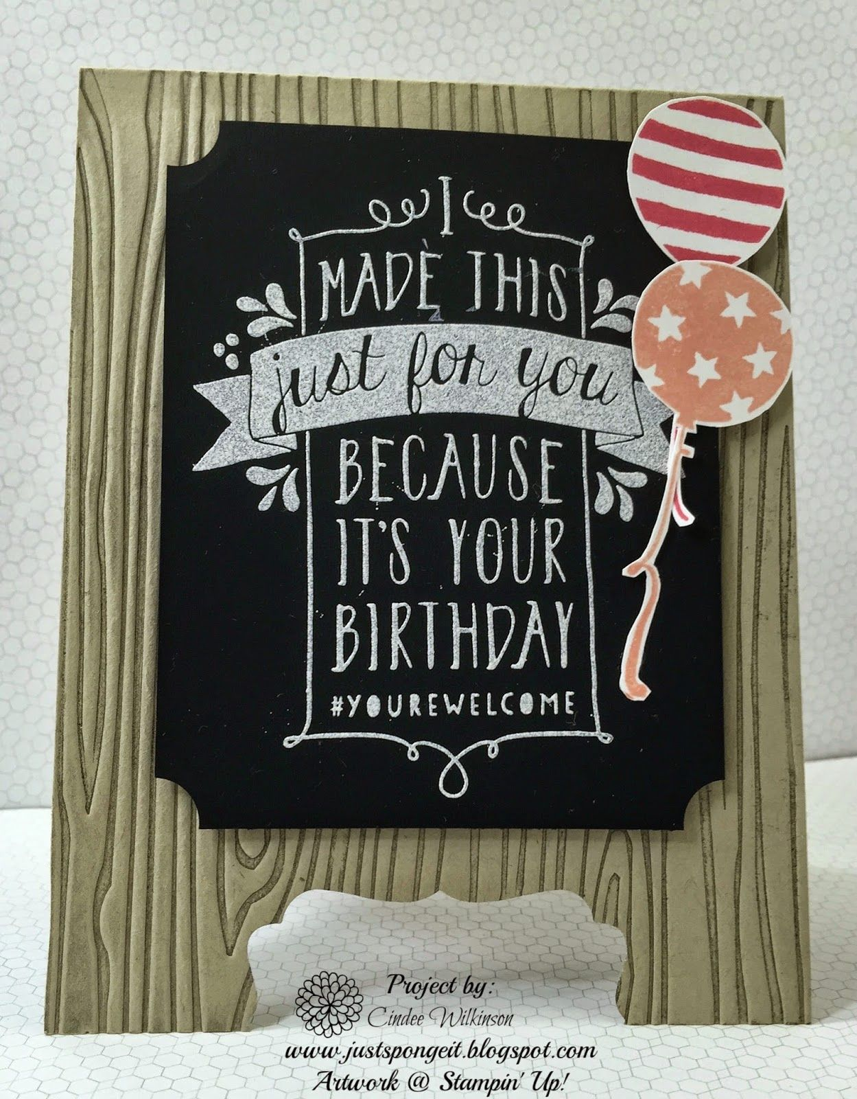 by Cindee: Balloon Bash & Woodgrain embossing folder. All supplies from Stampin' Up!
