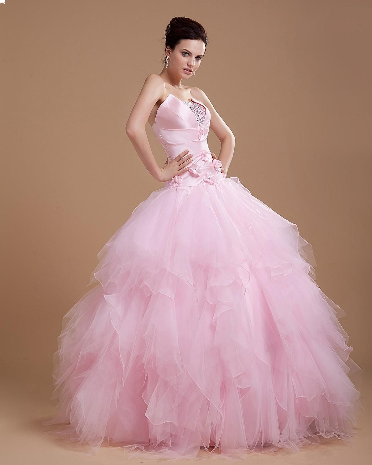 Pink Princess Wedding Dresses | Latest Style Ruched Beading Pink ...