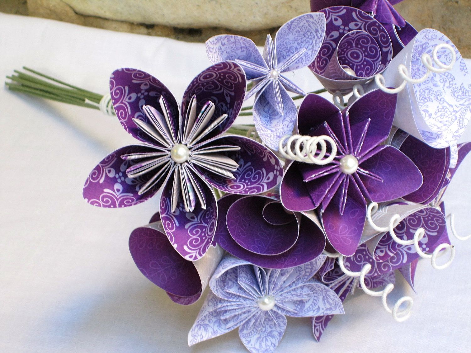 Origami Paper Flower Wedding Bouquet In Plum Posy By Onlyverysmall 112 00 Usd Via Etsy
