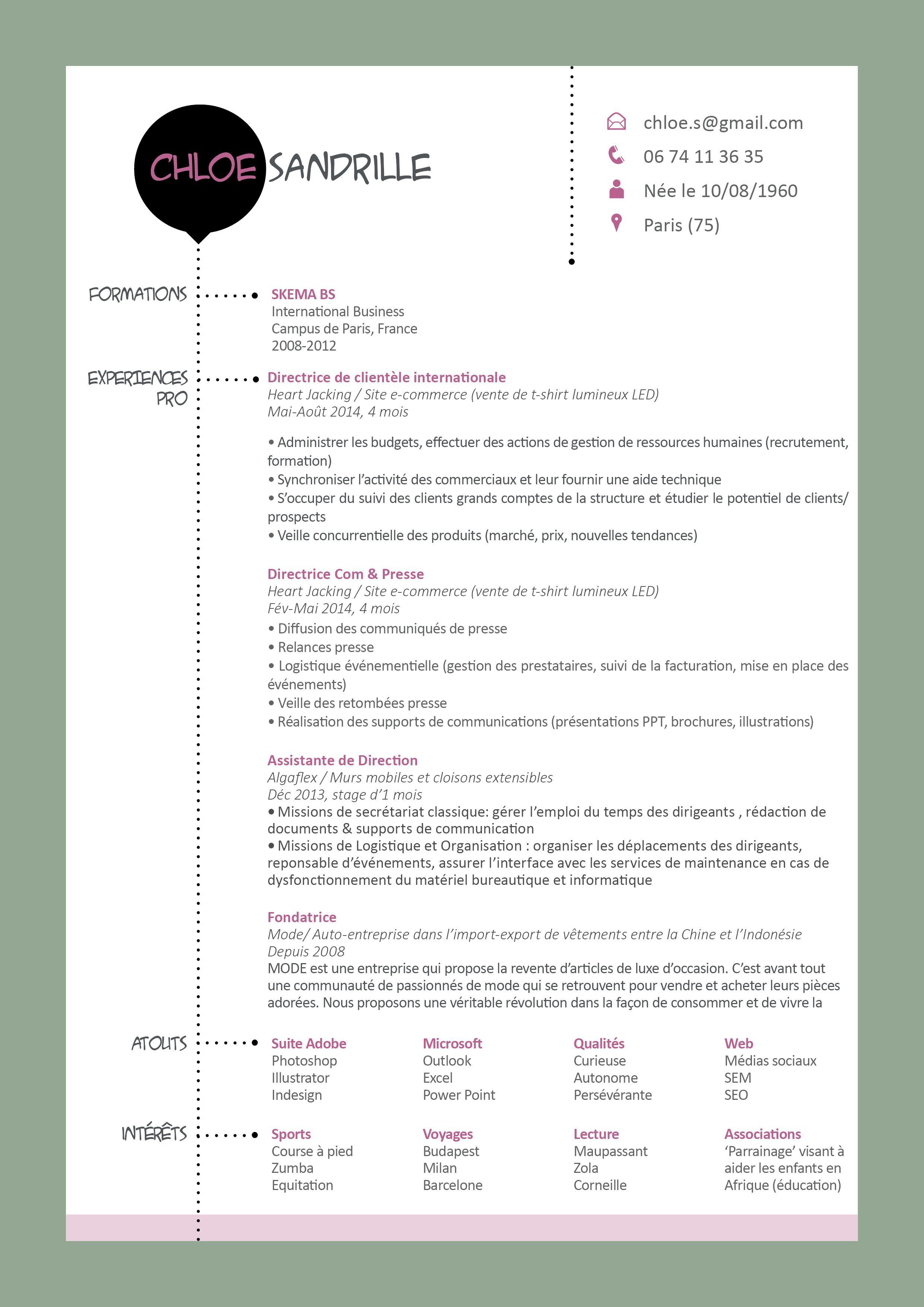 L Architecture Rationnelle De Ce Cv N Empeche Pas Les Fantaisies Discretes Le Jeu Des Couleurs Et Les Pointilles Produisent U Modele Cv Recrutement Cv Parfait