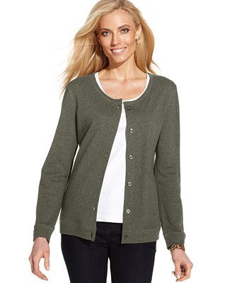Karen Scott Long-Sleeve Button-Front Cardigan | Smart Casual ...