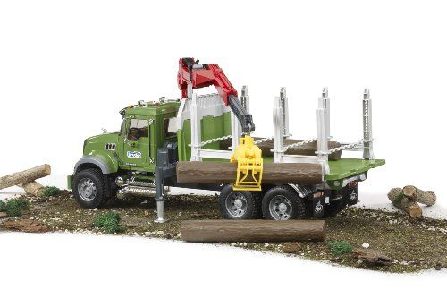Bruder Mack Granite Timber Truck With Loading Crane And 3 Trunks With Images Trucks Toy Car German Toys