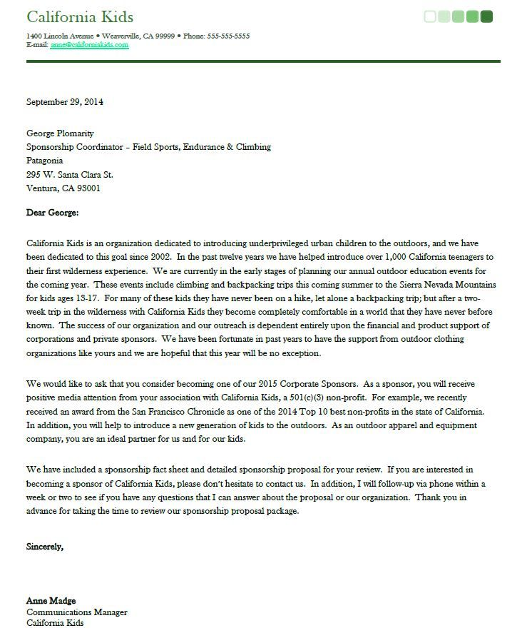 Sponsorship Proposal Cover Letter  Woodbridge