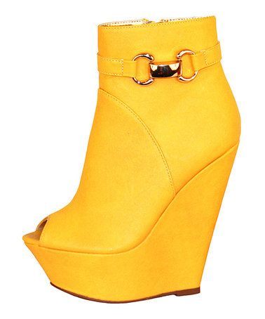 Love this Yellow Peep-Toe Wedge Boot on #zulily! #zulilyfinds