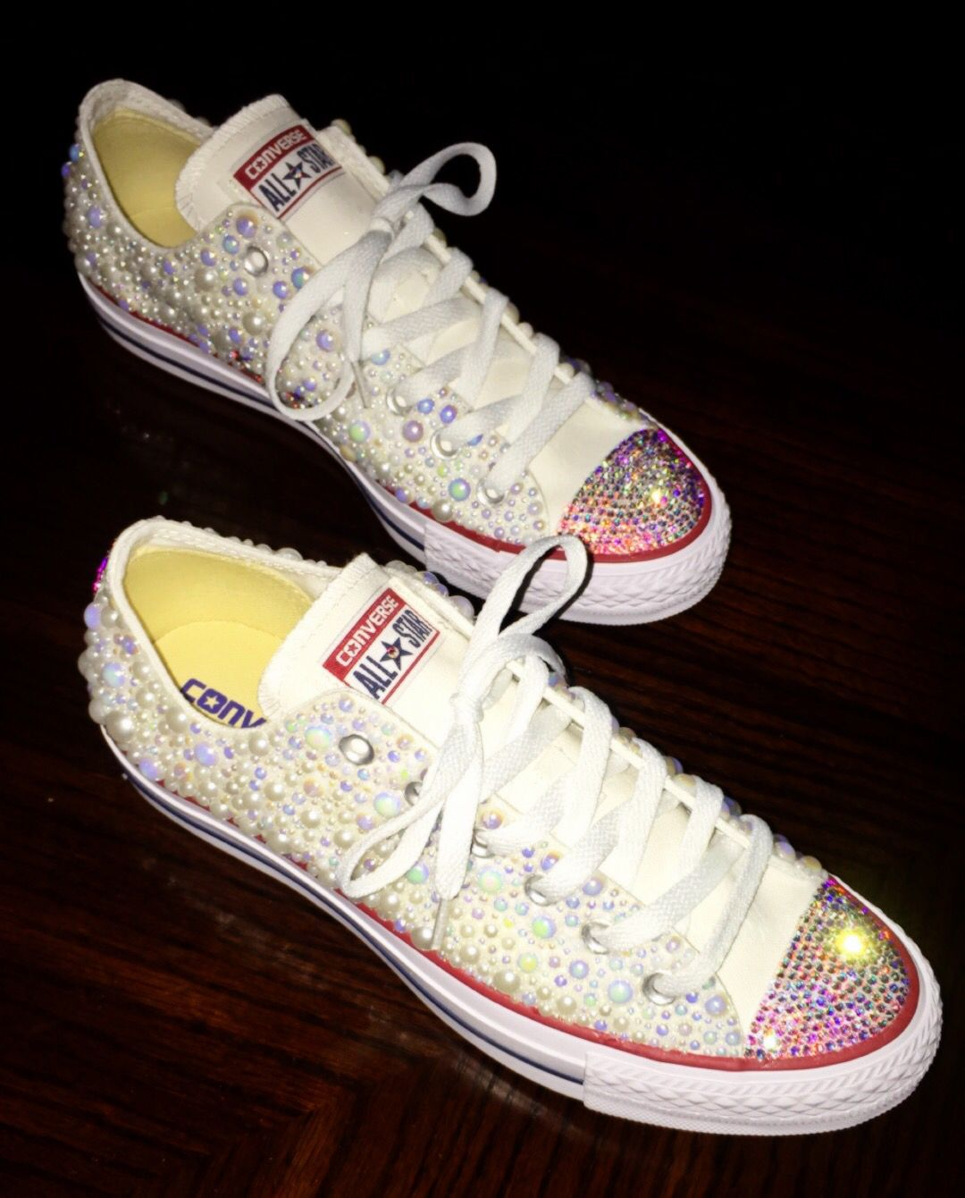 0ac5b7f47 Swarovski AB crystals, and white pearls.. Low top converse normally run a  whole size big. Adult Sizes (Women's 6 - 10) No Half Sizes!