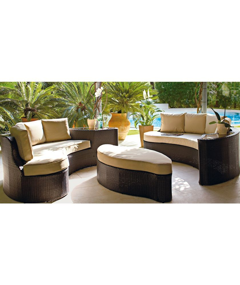 Argos Garden Table And Chairs Sale: Home 6 Seater Rattan Effect Sofa Set - Brown