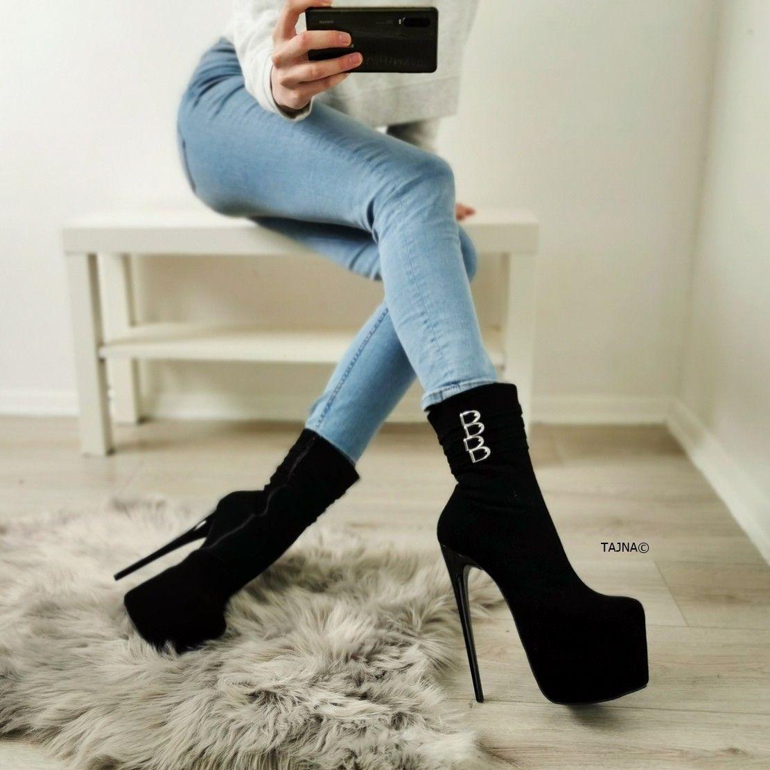 Boots, Suede high heels