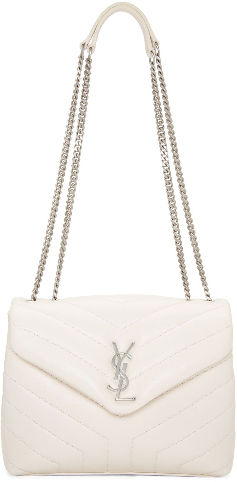 Saint Laurent Off White Small Loulou Chain Bag