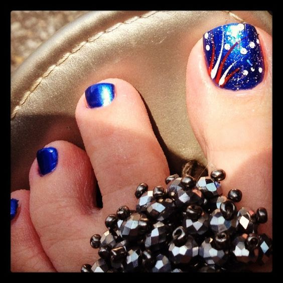 Fireworks | Fourth of July Toe Nail Designs for Summer that will make you  feel so patriotic! - 17 Fourth Of July Toe Nail Designs For Summer Toe Nail Designs