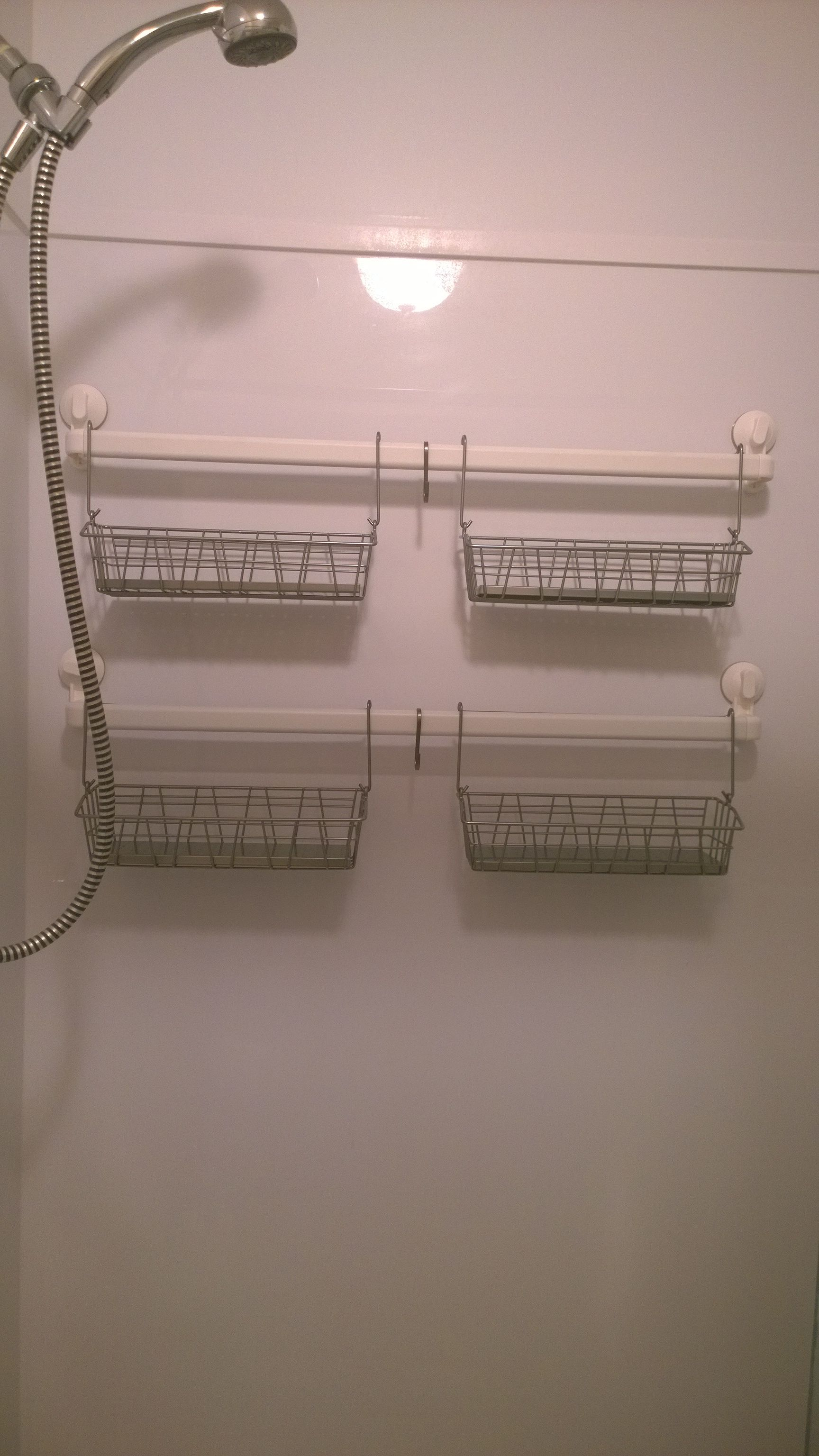 My New Ikea Hacked Shower Caddy Made From Stugvik Suction Cup Towel Racks Bygel Hanging Baskets And Grundtal Hooks All Items Other Than The