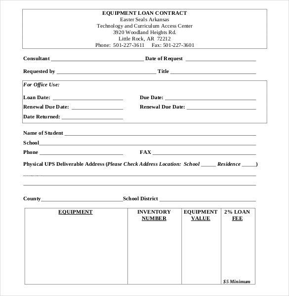 Equipment Loan Contract Form , 26+ Great Loan Agreement Template
