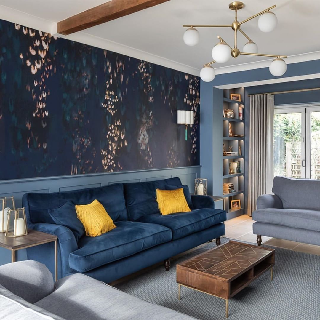 Sofas Stuff On Instagram The Glorious Marriage Of Navy And Mustard Beautifully Styled By In 2020 Living Room Decor Apartment Navy Living Rooms Living Room Designs
