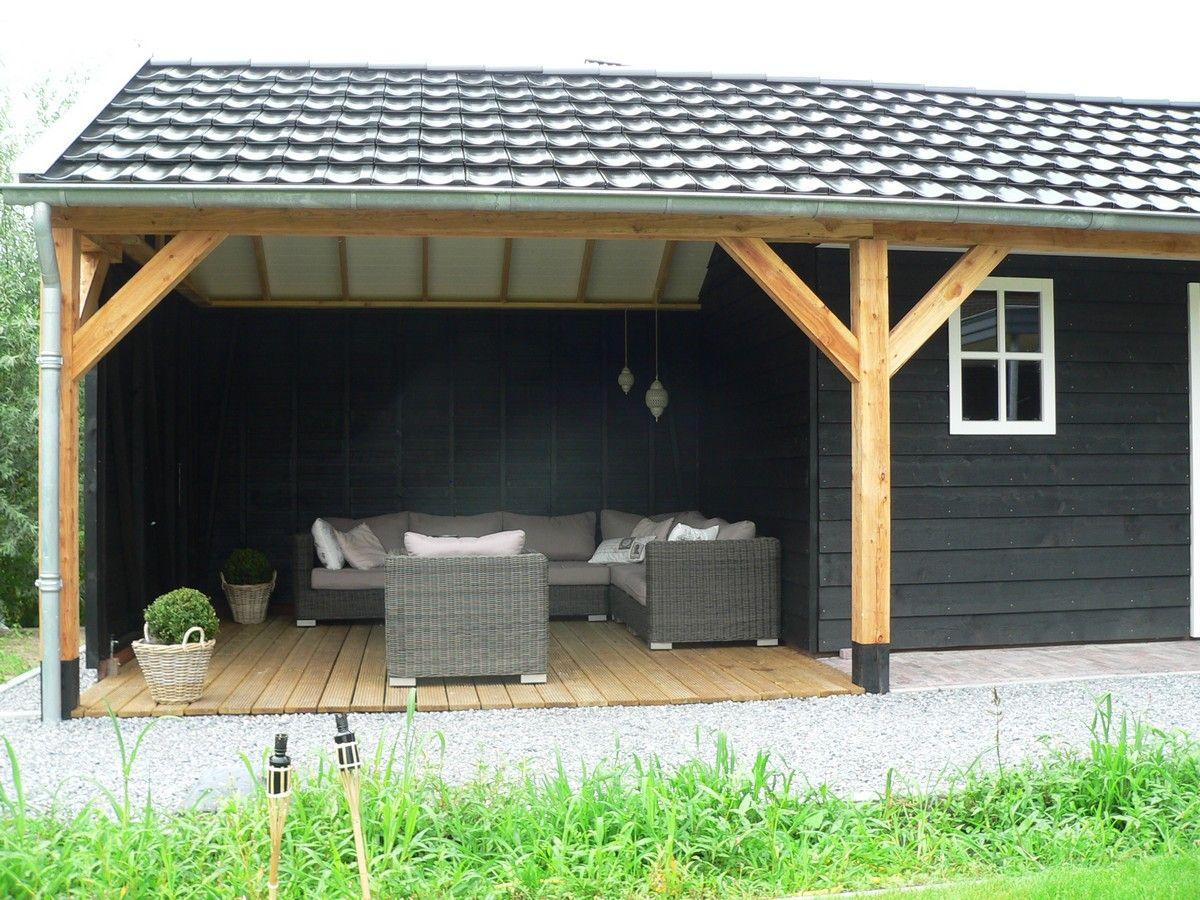 Eenvoudige kapschuur met garage en opslagruimte eventueel een tweede te gebruiken als - Planken zwarte ...