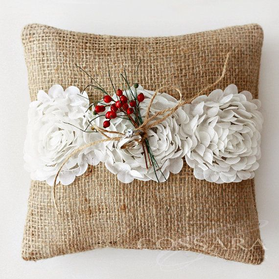 Shabby Chic Pillows On Etsy : Rustic / Shabby Chic Burlap Ring Pillow with Ciffon Flower Embellishment / Barrier pillow / DIY ...