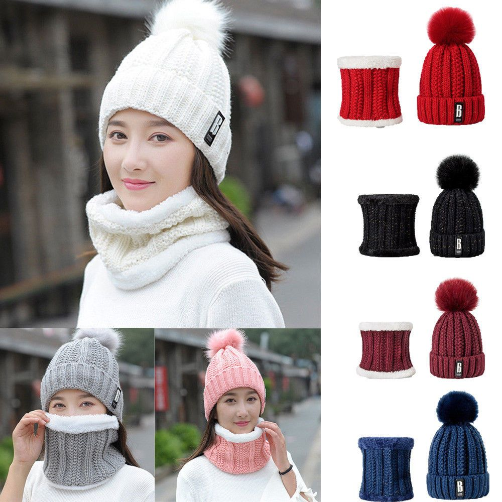 17eb489262a Women Ladies Winter Warm Wooly Thick Knit Hat And Scarf Set knitted Woollen   fashion