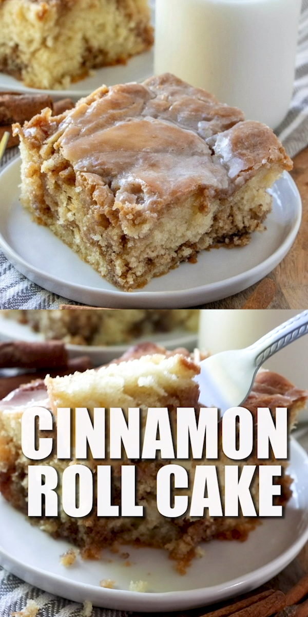 HOMEMADE CINNAMON ROLL CAKE This Homemade Cinnamon Roll Cake dessert has all the flavor of a cinnamon roll but in an easy cake with a vanilla icing drizzled on top