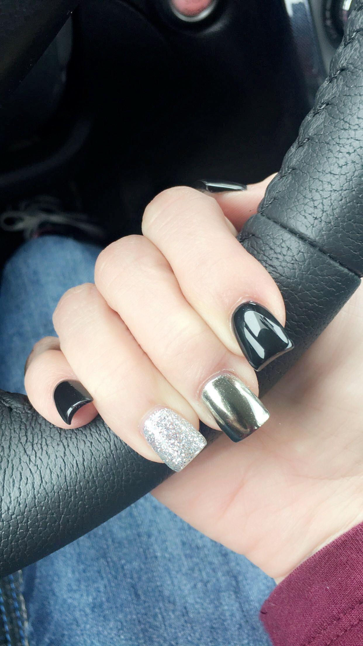 Black Silver Glitter Metallic Nails Short Acrylic Square Short Acrylic Nails Acrylic Nail Shapes Best Acrylic Nails