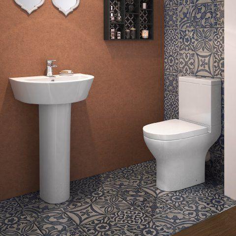 Bali Short Projection Close Coupled Toilet U0026 Pedestal Basin Set