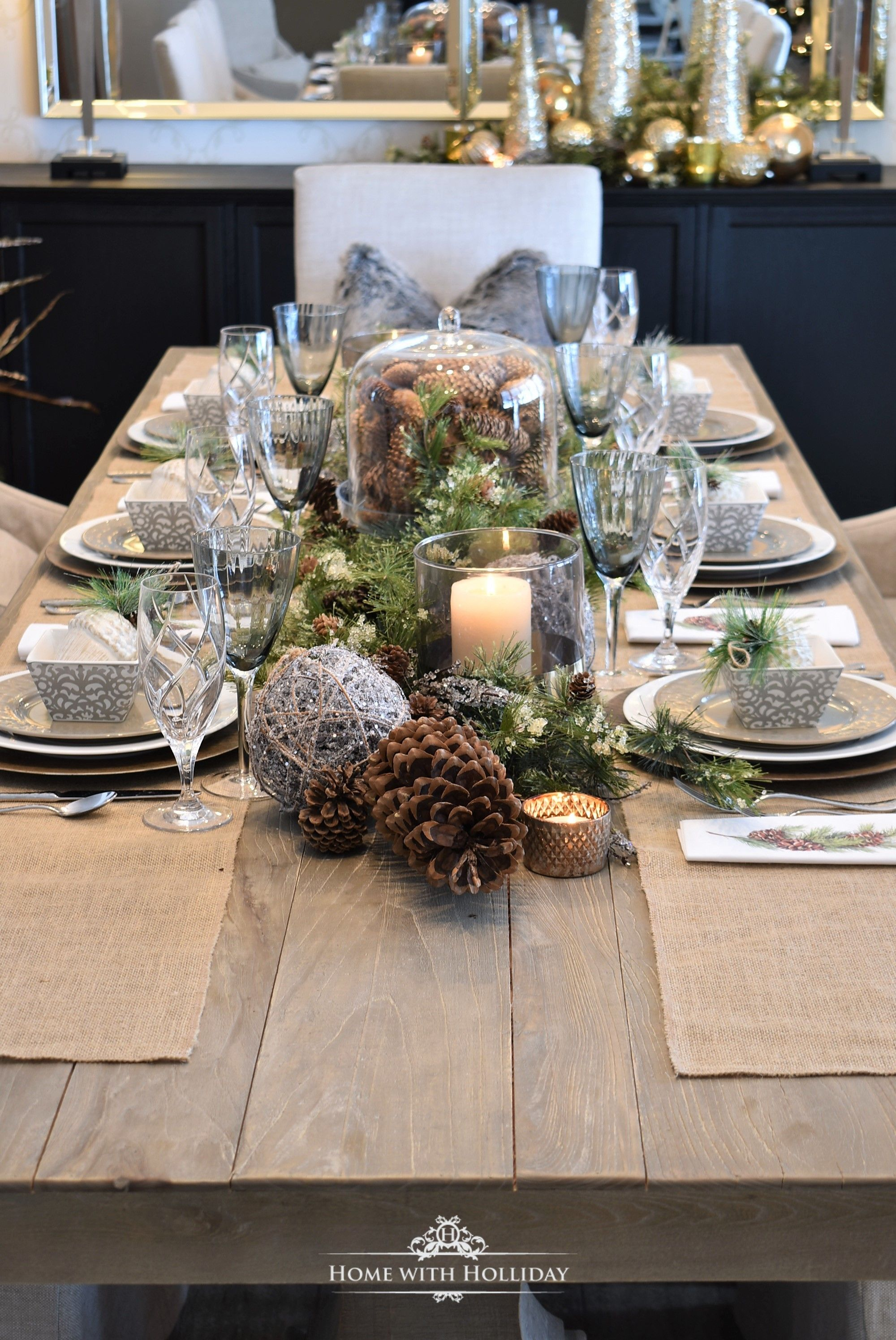 Simple Woodland And Pine Cone Christmas Table Setting Home With