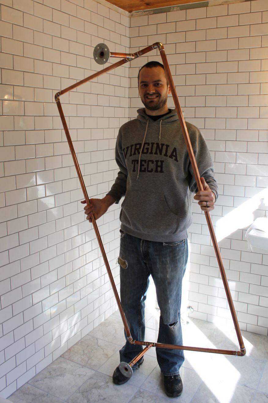 Diy Copper Shower Curtain Rod Clawfoot Tub Shower Shower