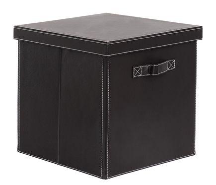 Cesta de polipropileno caja pvc estilo cuero 32x32x32 cm for Cajas almacenaje leroy merlin
