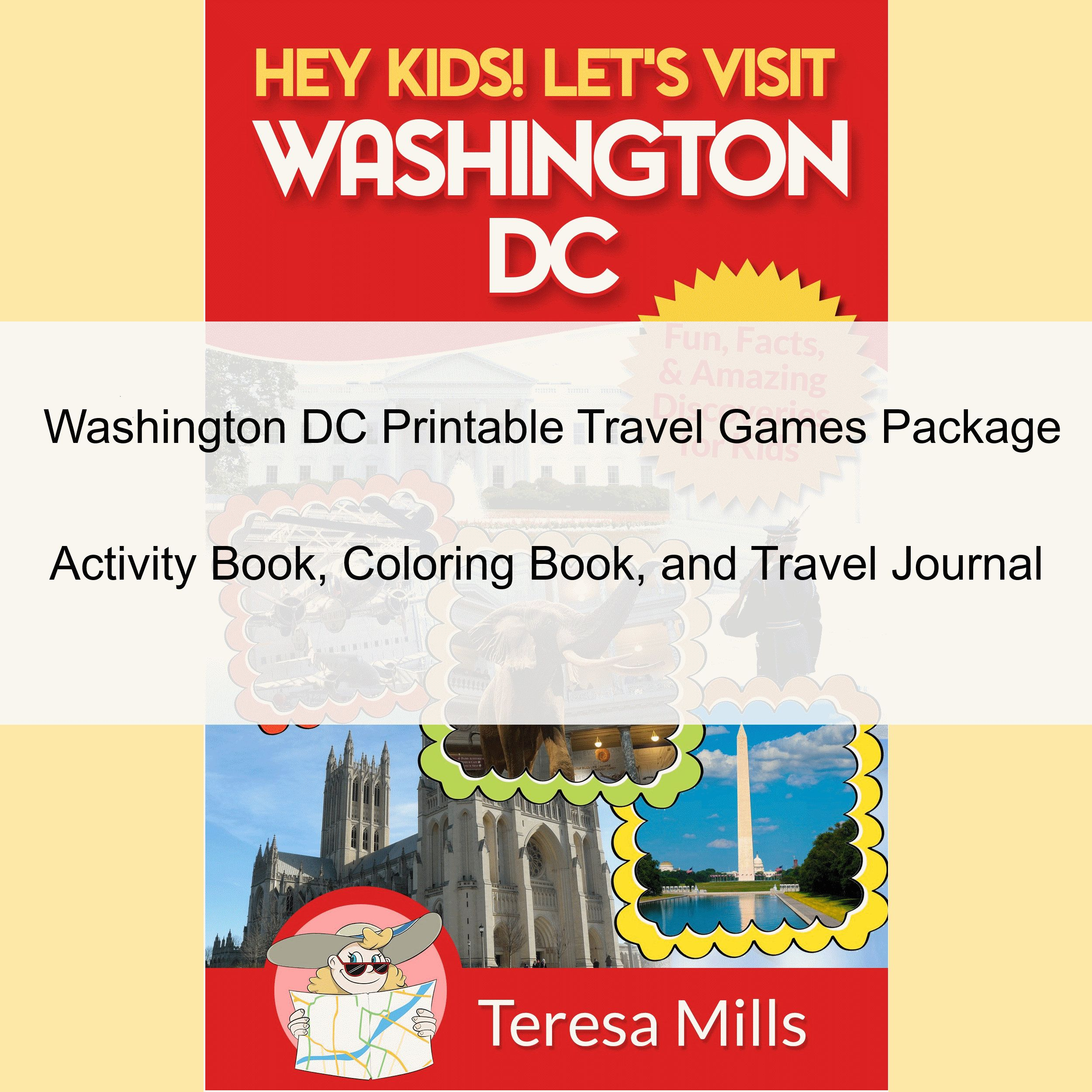 Washington Dc Printable Travel Games Package In
