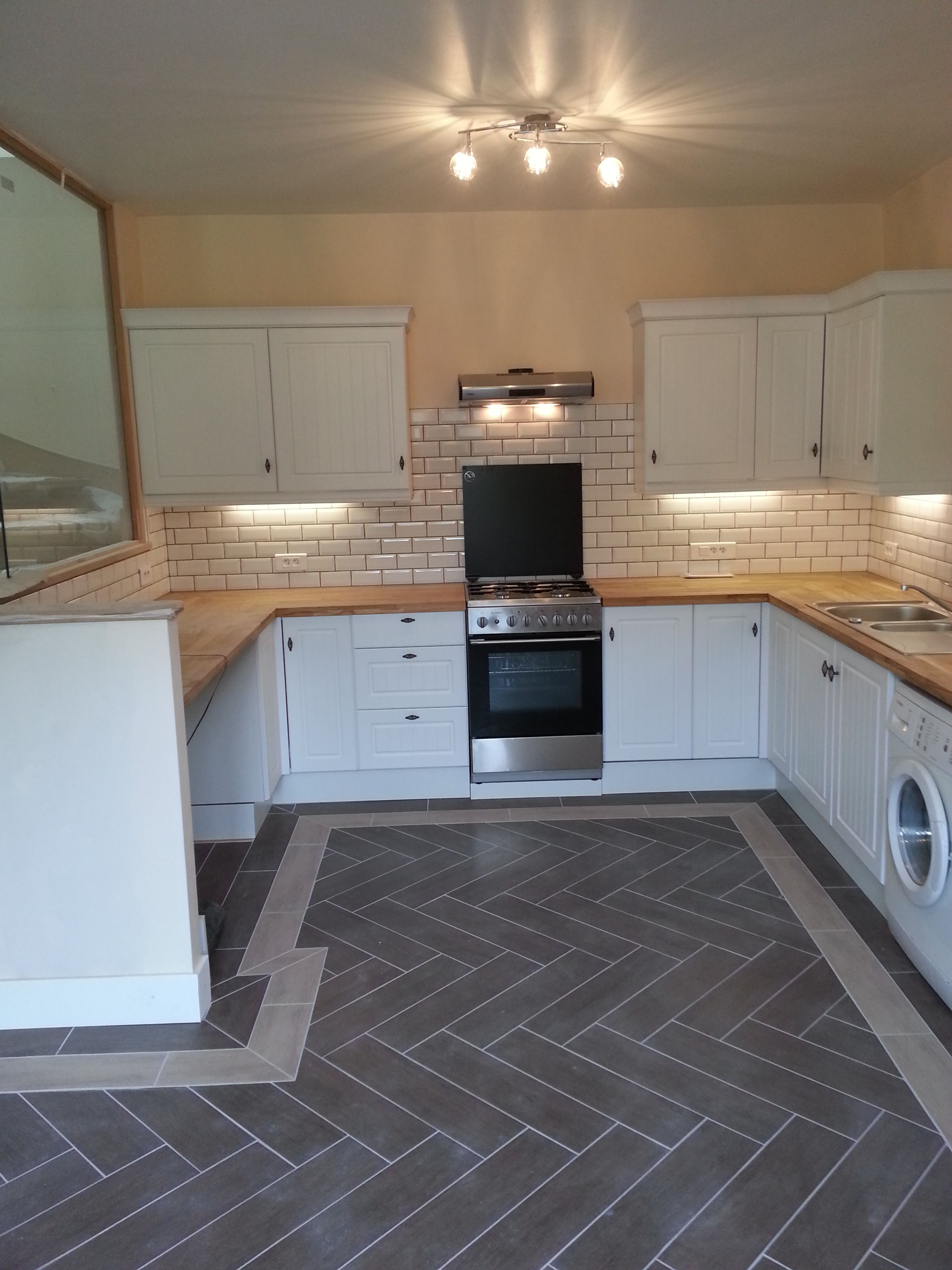 New B&Q Country Style Kitchen, herringbone tiled floor