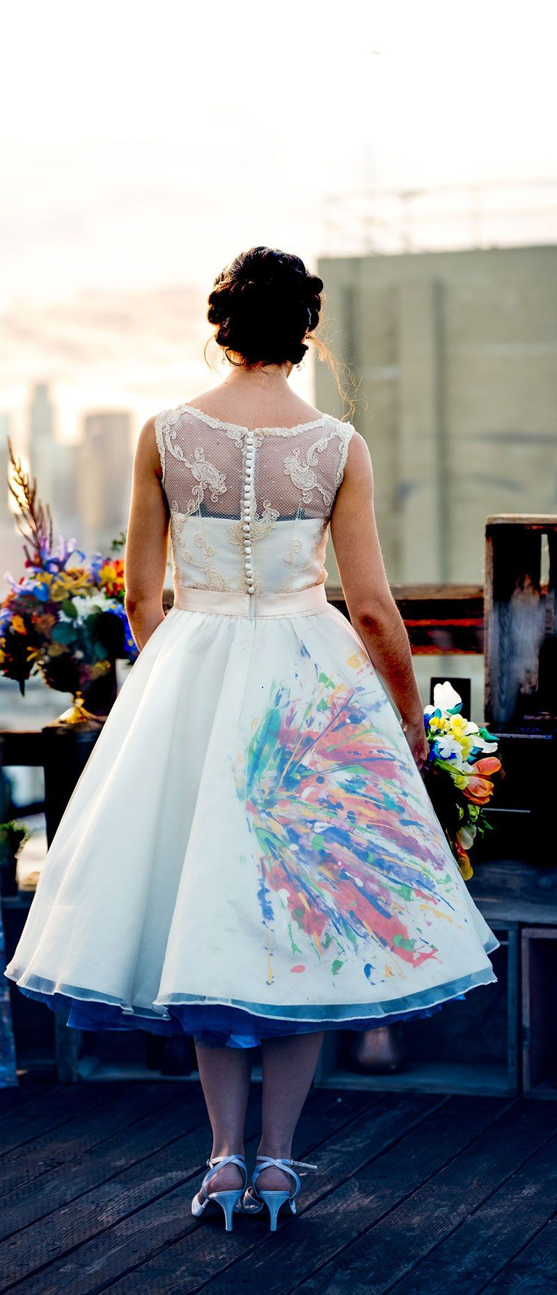 The groom painted the dress at this abstract artinspired vow
