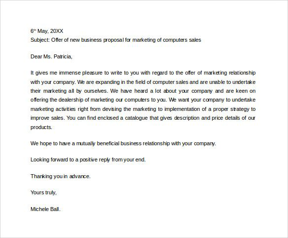 Sample Business Proposal Letter to Download business proposal - letter of intent partnership
