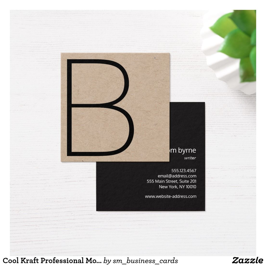 Cool Kraft Professional Monogram Square Square Business Card | Chic ...