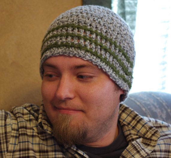 Crochet Beanie Hat Skullcap Mens Winter Hat Wool Blend
