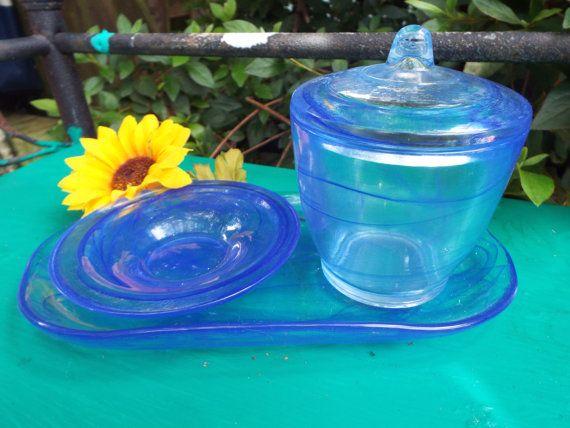 Hand Blown Glass Serving Set from Italy Swirly by JJsBottega, $39.00
