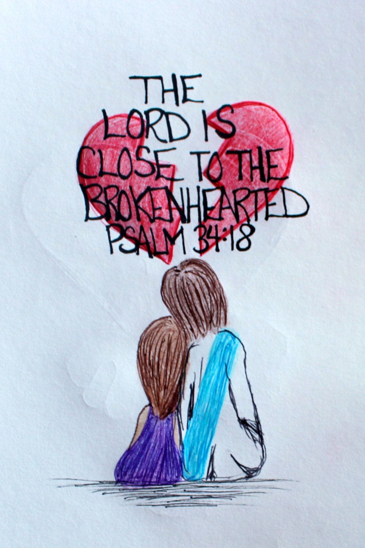 Scriptural Doodle Art of Jesus comforting the Brokenhearted