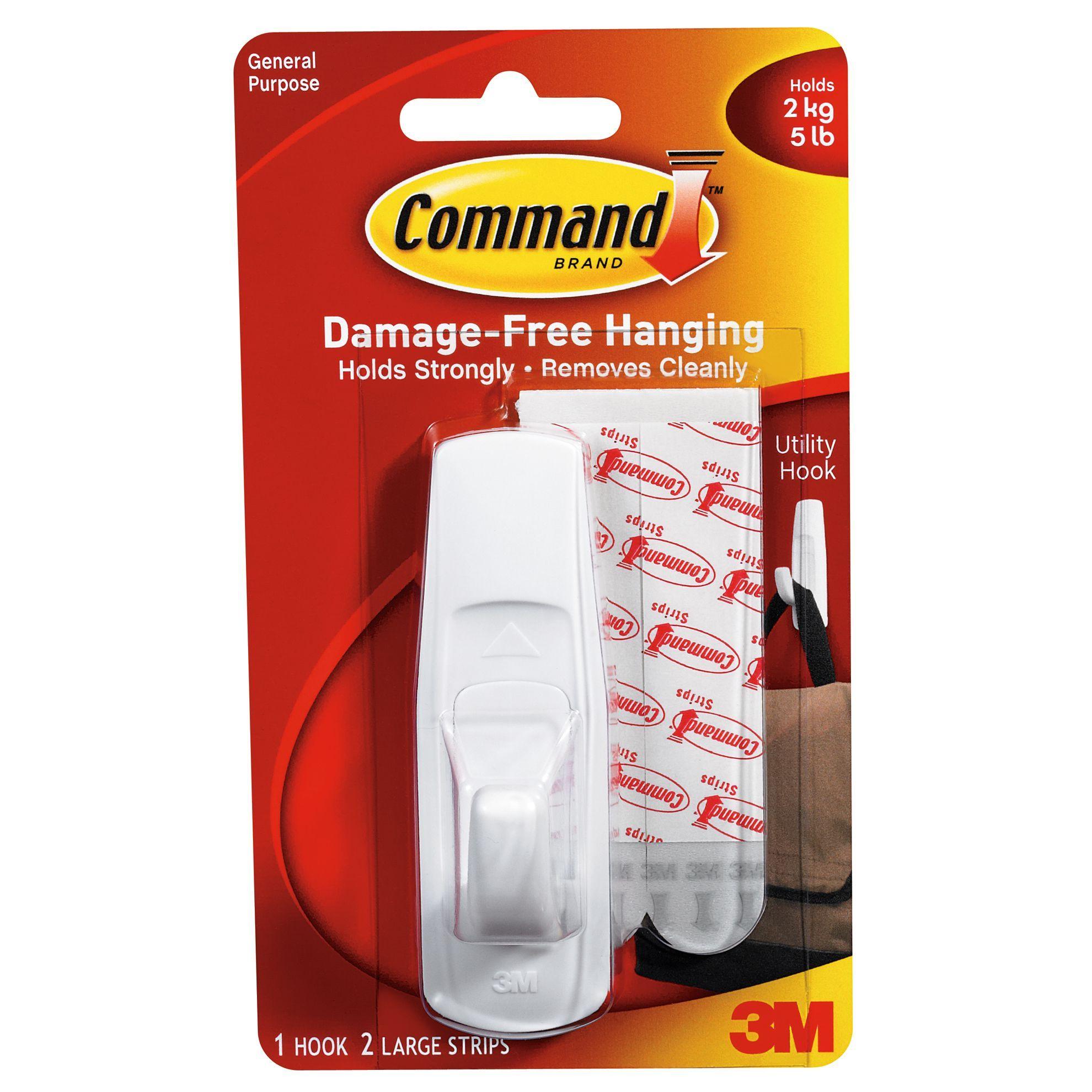 3M Command 2 Medium Designer HOOKS 4 Adhesive STRIPS Reusable White  Wall 17081