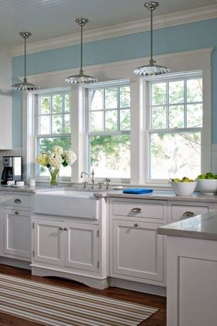 Country Kitchen With European Cabinets Farmhouse Sink Subway Tile L Shaped