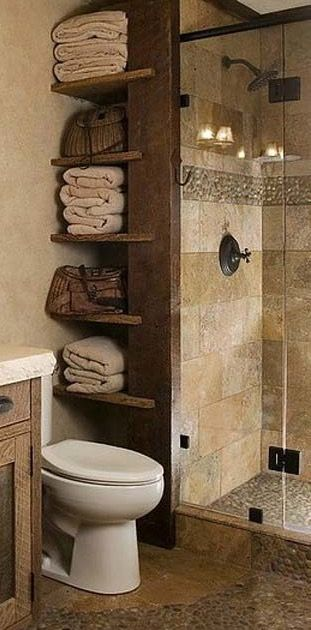 Towel Storage Beside Shower Stall This Tiny Bathroom