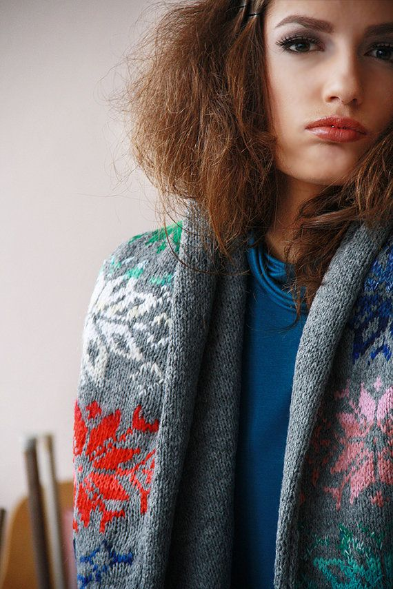 Multicolor Gray Scarf Nordic Hoodie Scarf Hand by BVLifeStyle