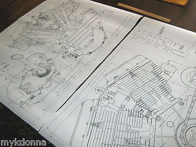 Harley harley panhead technical drawing set engine blueprint flh harley davidson panhead engine bw black white copy on good paper of a blueprint harley davidson can be seen on the classic old rubber kick pedal malvernweather Images