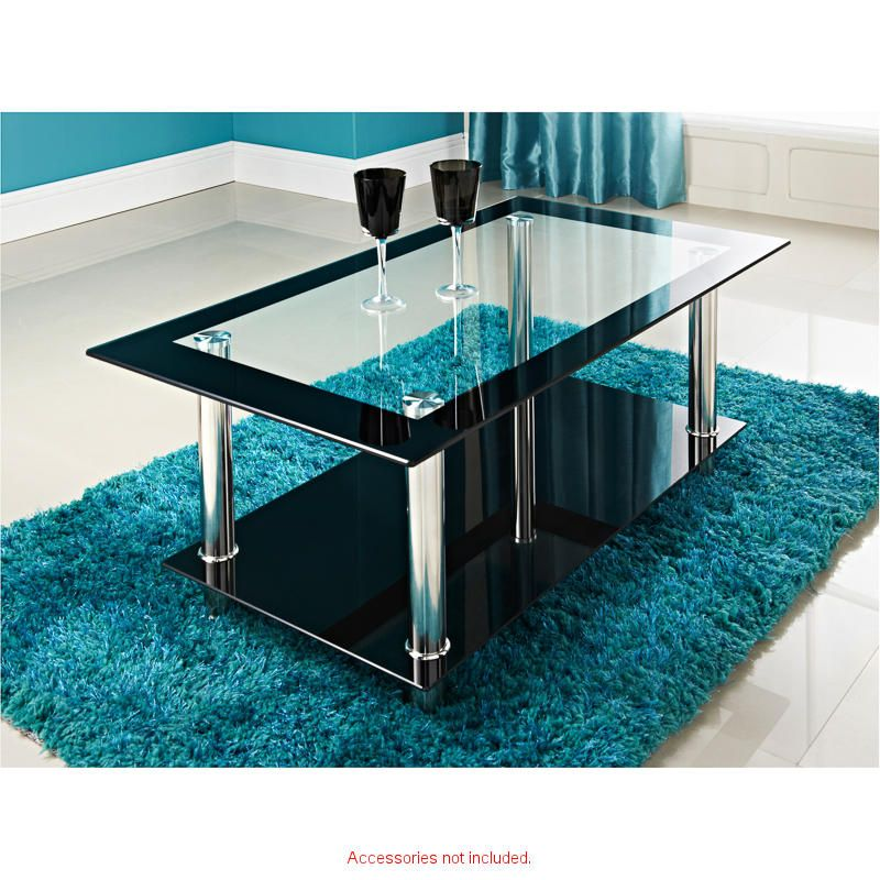 £34.99 Phoenix Coffee Table. Colour: Black/Glass. Features