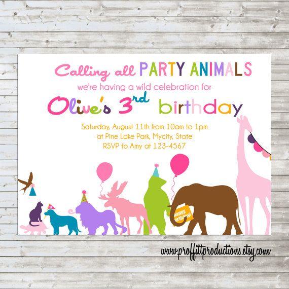 Wild Party Animals On Parade Custom Photo Birthday Party Invitation