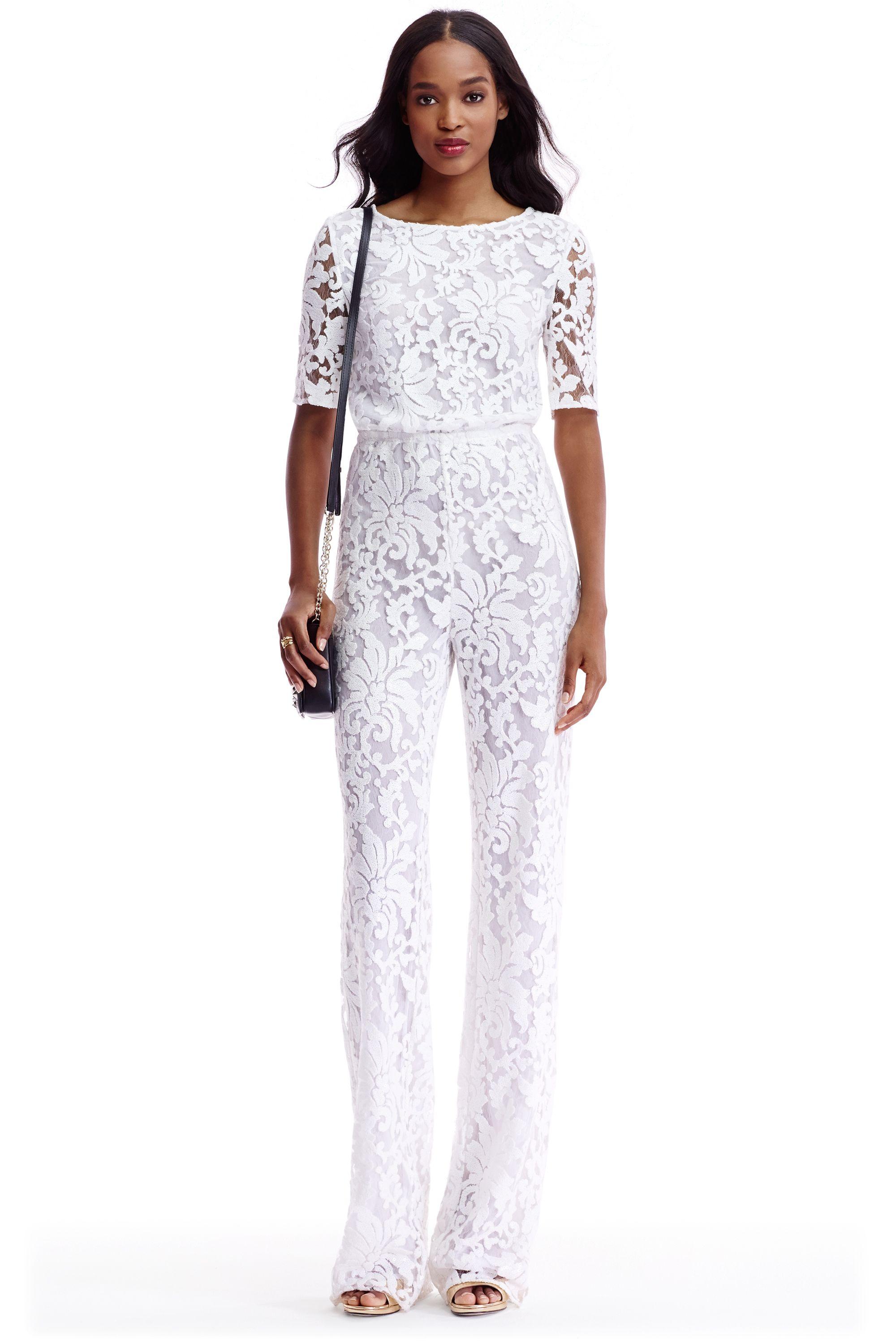 bd22f954f7f4 DVF Kendra Embellished Open Back Jumpsuit in white