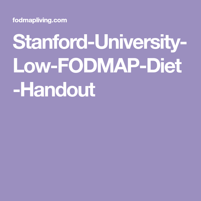 stanford low fat fodmap diet