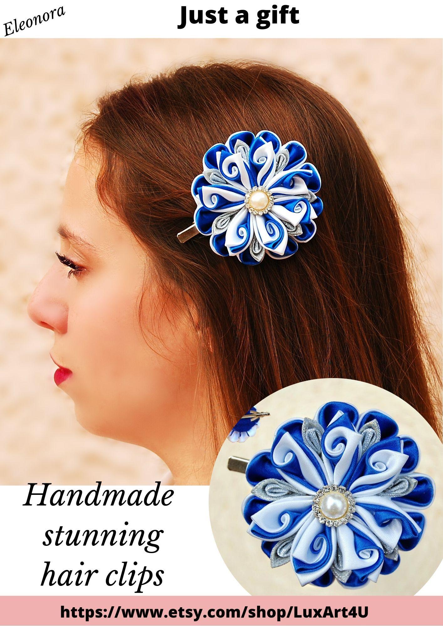Royal blue flower hair clip large wedding hair piece