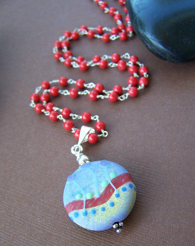 riverside necklace lampwork glass bead gemstone sterling silver