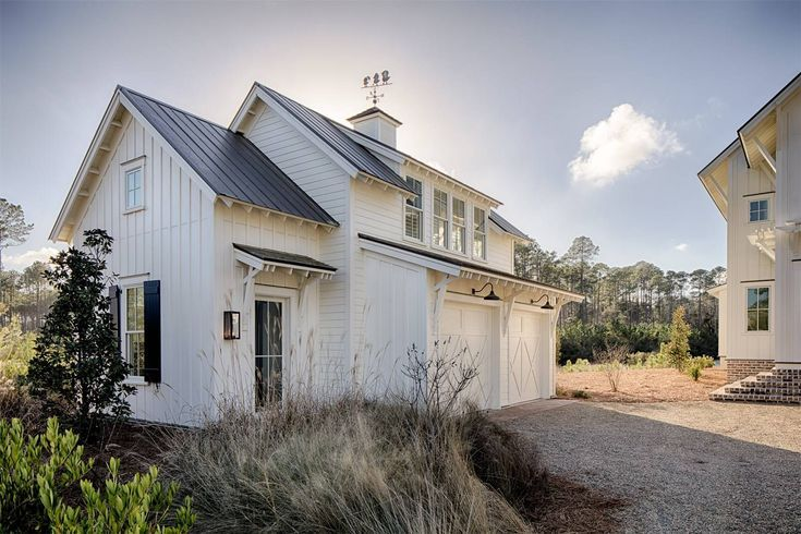 Modern Farmhouse Style Meets Coastal Cottage Decorating Ideas  Exterior of cottage style garage with carriage house