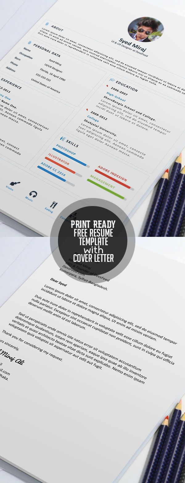 Free Print Ready Resume Template and Cover